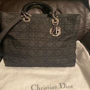 CD Denim Canage  Quilted Large Lady Dior Black